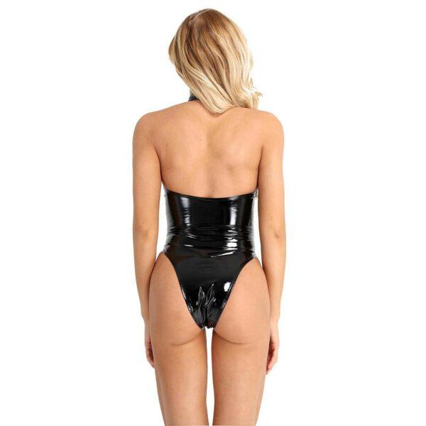 Patent Leather Bodysuit Women Halter Tight Backless Lingerie Night Clubwear Women Sexy Hot Exotic Underwear Lengerie Femenina