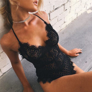 Women Sexy Solid Lace Skinny Lady Lingerie Lace Dress Bodysuits Underwear Nightwear Sleepwear Bodysuit Summer Beach Skinny