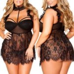 Women-Sleepwear-Plus-Size-Eyelash-Lace-Ruffled-Lace-Mesh-High-Neck-Babydoll-Sexy-Lingerie-Sexy-Lady-Nightwear-Erotic-Dress
