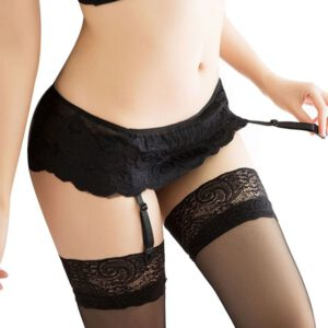 Womens Lace decoration Pantyhose Ladies Solid color Thigh-Highs Stockings Socks + Suspender Garter Belt Sexy Female lingerie