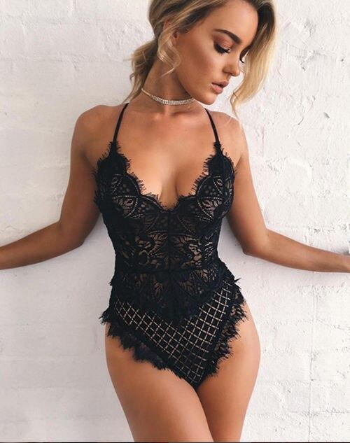 Women Sexy Solid Lace Skinny Lady Lingerie Lace Dress Bodysuits Underwear Nightwear Sleepwear Bodysuit Summer Beach Skinny