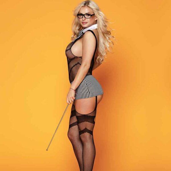 JSY Porn Women Sexy Teacher Cosplay Babydoll Lingerie Set Sexy Hot Erotic Plus Size Bodysuit Mesh Erotic Lingerie Porno Costumes